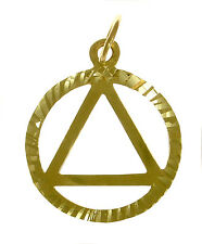 AA Alcoholics Anonymous Lightweight Sparkle Pendant, #10-1 Med. Size, 14k Gold