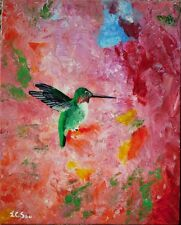 Original Abstract Acrylic Painting of Hummingbird In The Sea Of Blooms 3, artist