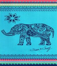 Serviette Drap de plage 2 places Elephant bleu turquoise Jacquard double géante