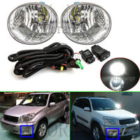 2x LED Front Bumper Fog Light Lamp & switch wiring Kit For Toyota RAV4 2003-2005
