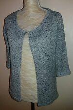 New Look Ladies Size 12 Grey Marl Edge to Edge Cardigan Autumn Knit Knitwear