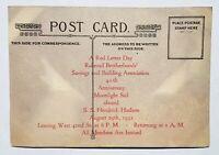 RAILROAD BROTHERHOODS Trainmen Invitation Postcard Sail SS Hendrick Hudson Vtg