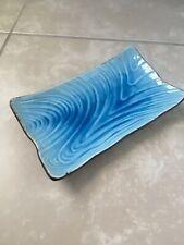 FLORIDA MARKETPLACE Ceramic Blue Appetizer Sushi Plate Platter Shibori Decor