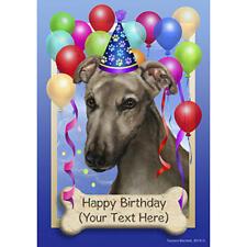 Greyhound Grey Happy Birthday Flag