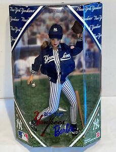 1999 Barbie Doll New York Yankees Baseball Uniform Wooden Bat Ball Glove Mattel