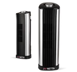 NETTA Black 14 Inch Mini Tower Fan 2 Speed Quiet ldeal for Desks,Tables Offices
