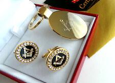 FREEMASON 24ct GOLD Logo Keyring and Crystal Masonic Cufflinks Gift Set in Case
