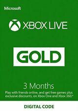 XBOX 3 Mois/Months Live Gold Membership MICROSOFT XBOX LIVE 360/Xbox one key EU