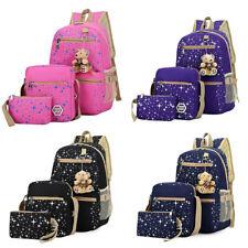 3Pcs Girl Backpack School Bags Women Shoulder Bag Rucksack Canvas Travel Satchel
