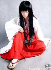 Inuyasha Kikyou Black Cosplay Wig 100cm Long Straight Cos Kikyo Party Hair Z243