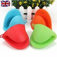 2x Silicone Hot Pot Holder Oven Gloves Mini Oven Mitts Cooking Pinch Grips UK Green