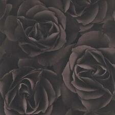 Rasch Floral Chocolate Rose Blossoms Feature Vinyl Modern Motif Wallpaper 525618