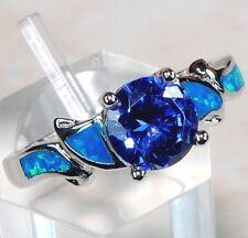 Blue Sapphire & Australian Opal Inlay 925 Sterling Silver Ring Jewelry Sz 9