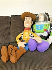 "Vintage Disney Pixar Toy Story Large Woody Doll 32"" and Large Buzz Lightyear 26"""