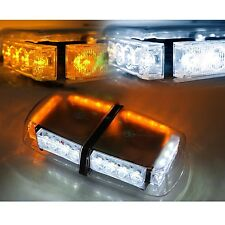 White & Amber 24 LED Light Bar Roof Top Emergency Beacon Warning Flash Strobe