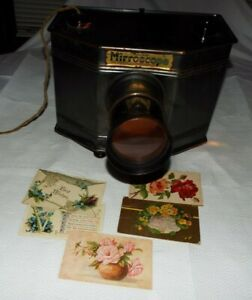 ANTIQUE 1912 MODEL WORKING MIRROSCOPE BUCKEYE STEREOPTICON CO. 6 POSTCARDS READ!
