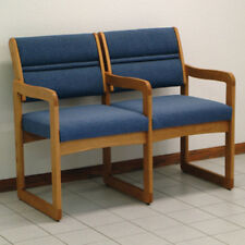 Wooden Mallet Valley Two Seat Chair w/Center Arms-Medium Oak- DW1-2MOPB Chair