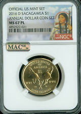 2016-D SACAGAWEA ANNUAL DOLLAR SET NGC MAC MS 67 PL PQ FINEST REGISTRY .