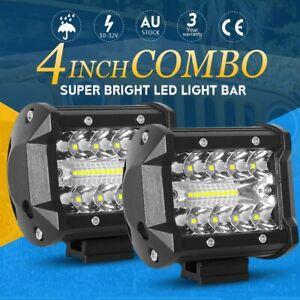 2x 4inch CREE LED Light Bar Spot Flood Work Pod OffRoad Driving Reverse 4x4 Ford