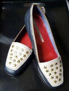 Enzo Angiolini Soft Leather Liberty Flats Loafers Dark Blue STARS Women's 7 1/2M