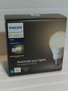 Philips Hue A19 White Dimmable Starter Kit with Bridge + 2 E26 LED Bulbs