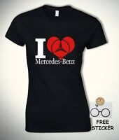 I Love Mercedes Benz T shirt Car Logo Fashion Vintage Tee Womens Gift Top S - XL
