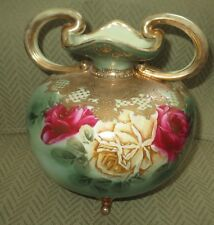ANTIQUE NIPPON GOLD ENCRUSTED W ROSES DOUBLE HANDLED  & FOOTED URN /VASE 1891 EX