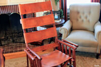 Mid-Century Costa Rican Leather Campaign Folding Rocking Chair High Back
