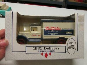 TRUE VALUE ERTL TRUCK BANK WITH KEY AND BOX