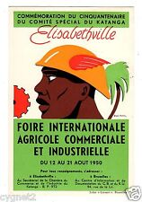 POSTCARD BELGIAN CONGO 1950 ELISABETHVILLE FAIR ARTIST-SIGNED
