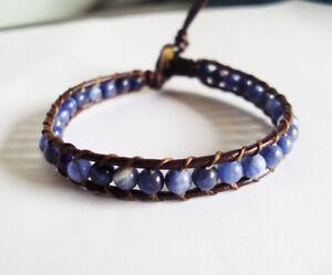 Kyanite bracelets,stone bracelets,leather bracelets,men and women bracelets wrap