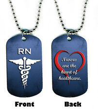 DOG TAG NECKLACE - Nurse RN Heart Healthcare Medical 2-sided bead chain jewelry