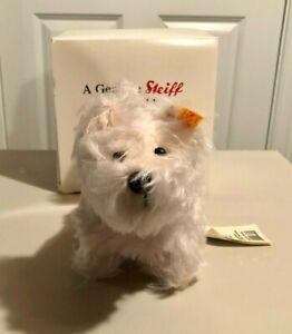 """Steiff """"Westie"""" Dog 667534 White Mohair - Mint w/box - Danbury Mint"""