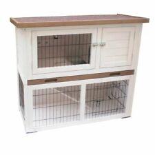 @pet Conejera Kiki madera blanca y Marrón 92x45x80 cm jaula de conejos mascota