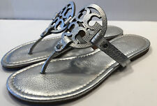 Tory Burch Miller Metallic Silver Tumbled Leather Sandals Size 10 1/2 10.5 M