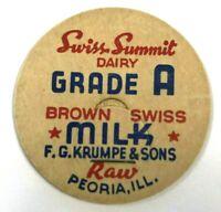 Swiss Summit Dairy Grade A Brown Milk Bottle Cap F G Krumpe & Sons Raw Peoria IL