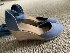 Blue Espadrille Wedges w/ Ankle Ties - Size 8 Old Navy