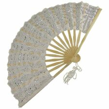 Euphyllia Carmen Cotton Lace Fan in White (e8051fw)