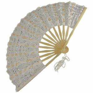 Euphyllia Carmen Cotton Lace Fan in White (e8051fw)