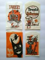 Vintage Halloween Trick Or Treat Candy Bags Cowboy Goblins Witch Black Cat 4