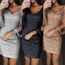 Women Tassels Slit Sleeve Sequin Mini Dress Party Evening V Neck Bodycon Dresses