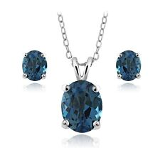 925 Silver 4.5ct London Blue Topaz Oval Solitaire Necklace & Earrings Set
