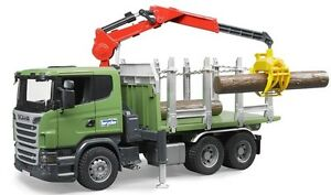 Bruder SCANIA R-series Timber Transport Truck w Loading Crane Grabs 3 Logs 03524