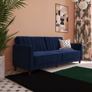 DHP futon blue completely reclinable, great to add style to living room