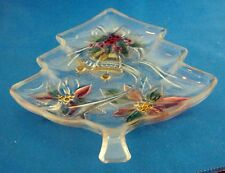 Christmas TREE SHAPED CANDY DISH W/COLORFUL BELLS & FLORAL DETAILS