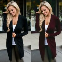 Sweater Solid Long Autumn Casual Coat Sleeve Women's Jumper Cardigan Jacket