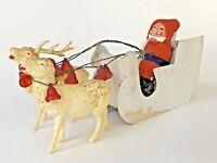 Vintage German Christmas Santa Sled Glitter Reindeer Bells Germany Belsnickle