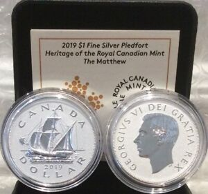 2019 Matthew Heritage Royal Canadian Mint Silver Proof $1 Dollar Piedfort Coin