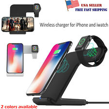 Qi Wireless Fast Charger Dock Station Stand 2 in 1 For Apple Watch iPhone X Xs 8