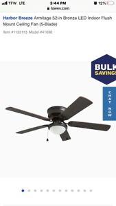 Harbor Breeze Armitage 41690 52in. 5-Blade LED Indoor Flush Mount Ceiling Fan -
